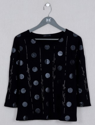 Deal black printed casual top in cotton