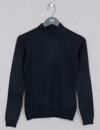 Deal black solid style knitted casual top