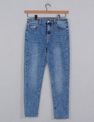 Deal blue solid denim causal wear for women
