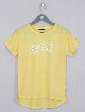 Deal bright yellow cotton casual top