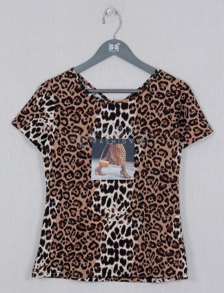 Deal brown hoisery cotton casual top in printed style
