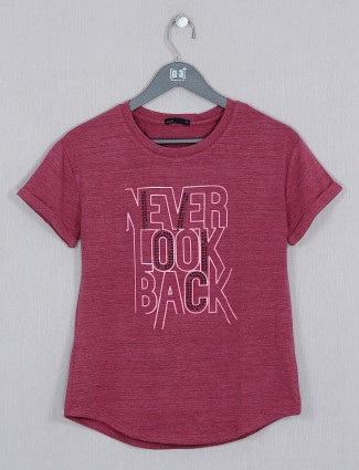 Deal casual style maroon t-shirt for women