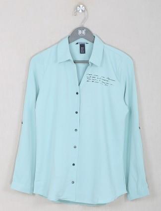 Deal cotton casual top in aqua hue