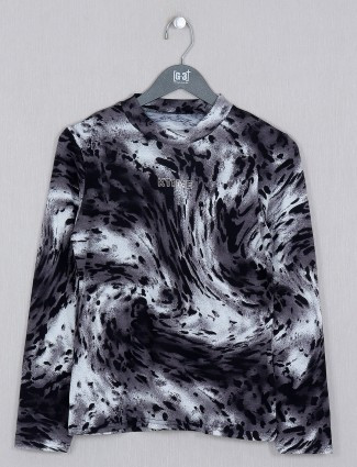 Deal grey printed cotton casual wear top for women