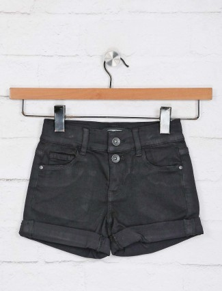 Deal latest black solid casual shorts