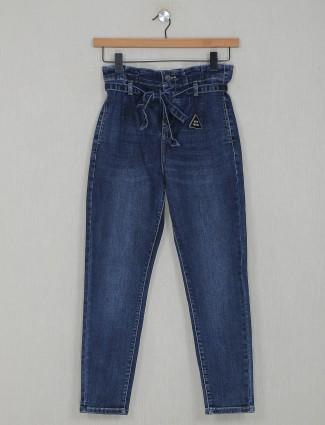 Deal navy blue solid denim casual wear jeans