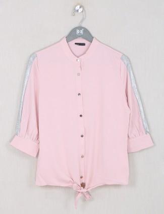 Deal pink hue top in georgette for women