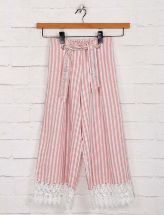 Deal pink stripe cotton palazzo