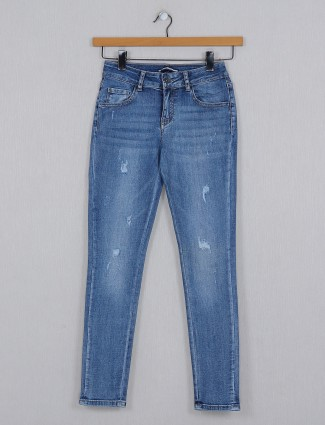 Deal pretty blue solid denim for causal wear in navy