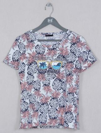 Deal printed cotton casual top in White tint