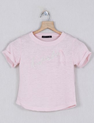 Deal printed pink cotton top for girls