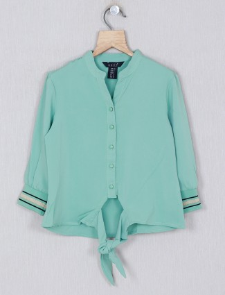 Deal solid green georgette girls casual top
