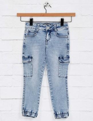 Deal solid light blue six pocket jeans