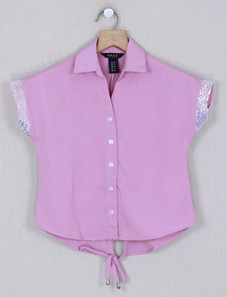 Deal solid pink casual cotton top