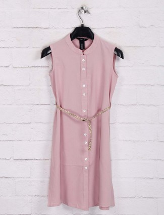 Deal solid pink casual wear frock