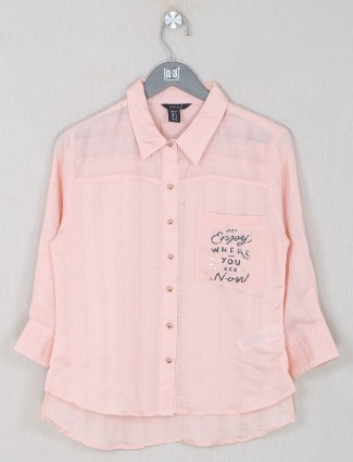 Deal solid style peach shade top in cotton