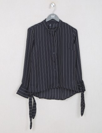 Deal striped style black top in georgette
