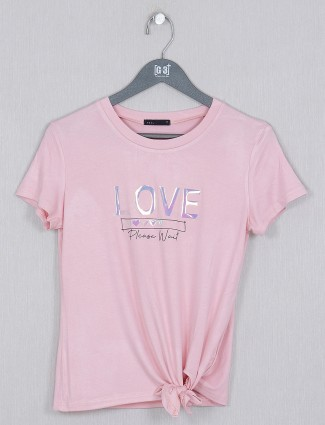 Deal stylish pink tint casual style top