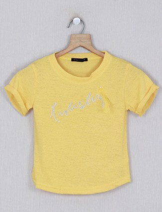 Deal yellow printed top in cotton