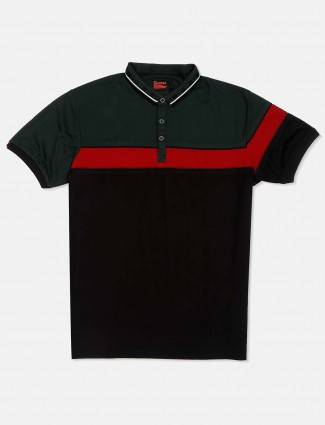 Deepee black and dark green solid t-shirt