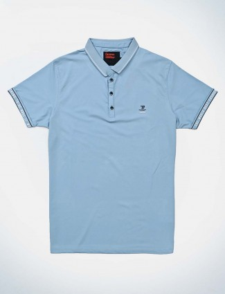 Deepee blue casual solid polo t-shirt