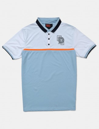 Deepee blue solid polo neck t-shirt