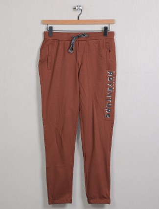 Deepee brown cotton trackpant for men