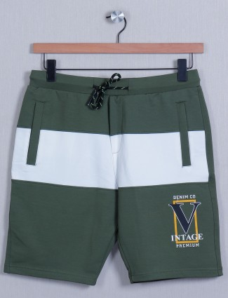 Deepee green shade cotton slim-fit shorts