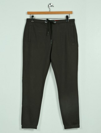 Deepee green solid cotton night track pant
