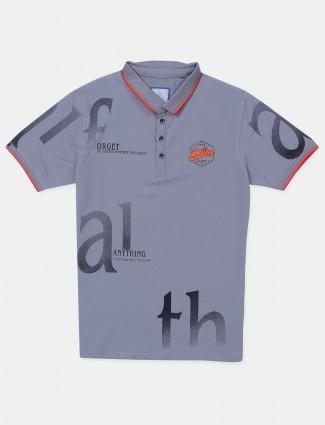 Deepee grey shade printed style men's t-shirt