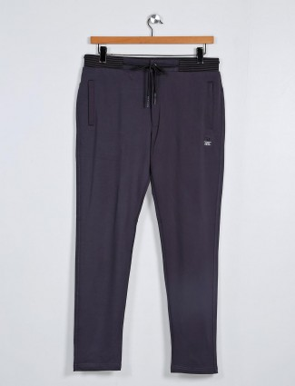 Deepee grey solid cotton night track pant
