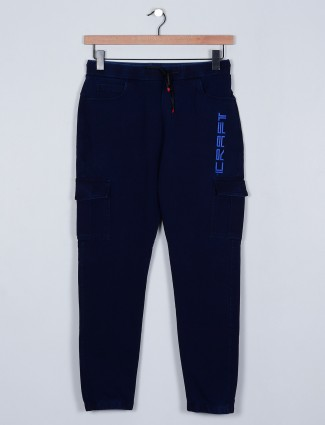 Deepee navy blue colored cotton trouser