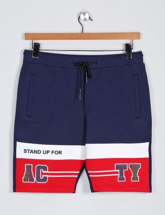 Deepee navy printed cotton summer shorts