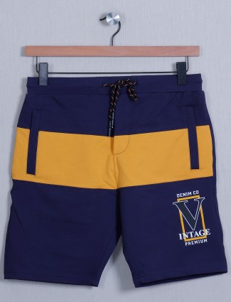Deepee navy shade cotton slim fit shorts for men