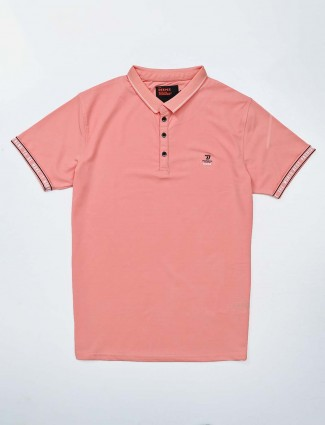 Deepee peach solid slim fit polo t-shirt
