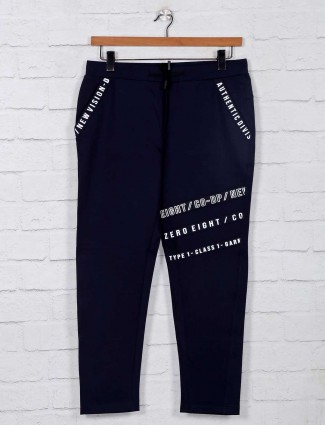 Deepee printed navy cotton track pant