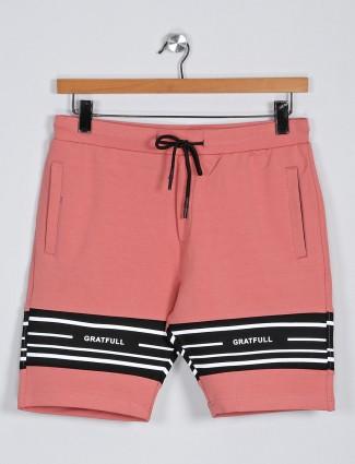 Deepee printed peach cotton casual shorts