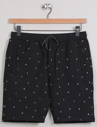 Deepee printed style casual shorts in black shade
