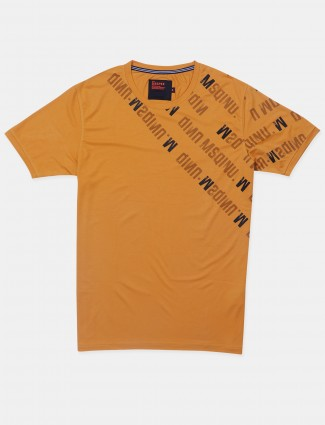 Deepee printed style ochre yellow cotton t-shirt for men