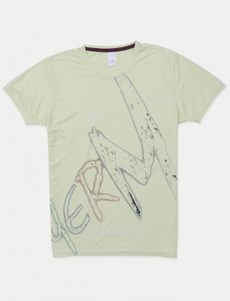 Deepee printed style yellow hue cotton casual t-shirt for men