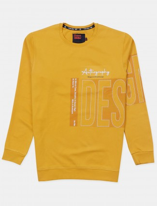 Deepee printed yellow cotton casual t-shirt