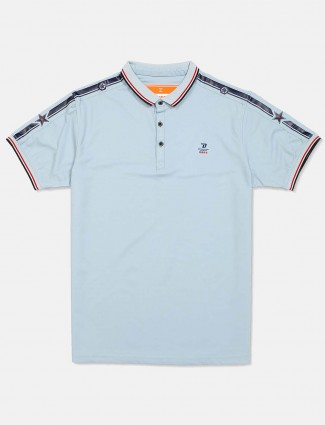 Deepee sky blue solid slim fit t-shirt