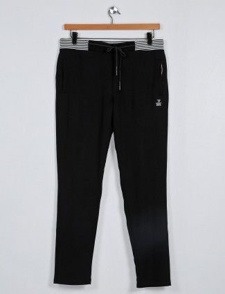 Deepee solid black mens track pant