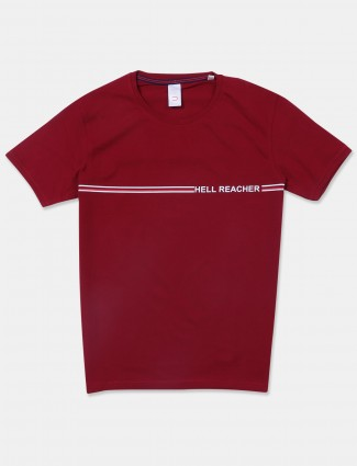 Deepee solid style maroon hue cotton t-shirt