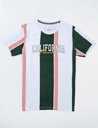 Deepee white cotton stripe t-shirt