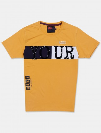 Deepee yellow printed slim fit t-shirt
