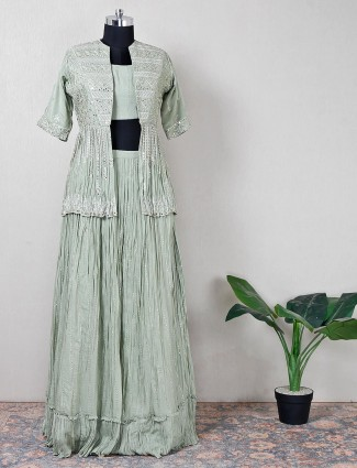 Delight pista green silk suit with stone detail jacket