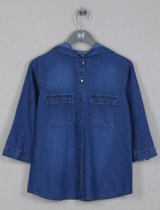Denim top for women in dark blue