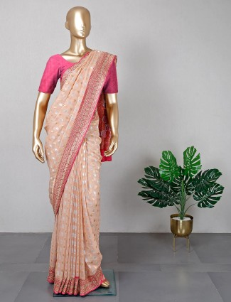 Desginer peach silk saree for festive