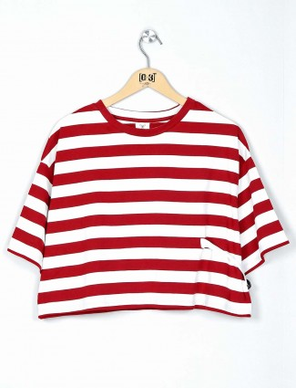 Desi Belle red striped cotton top for women